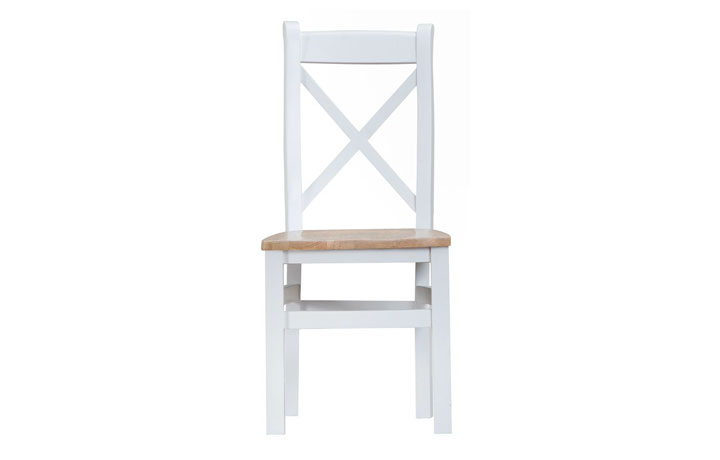 Regency White Painted Collection - Regency White Painted Cross Back Chair Wooden Seat