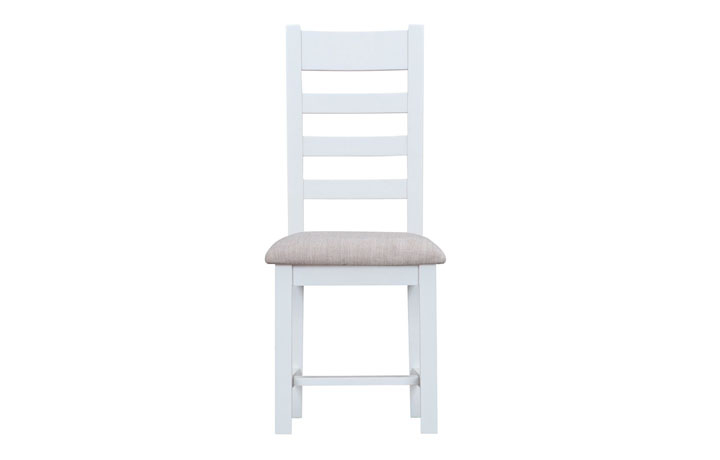 Regency White Painted Collection - Regency White Painted Ladder Back Chair Fabric Seat
