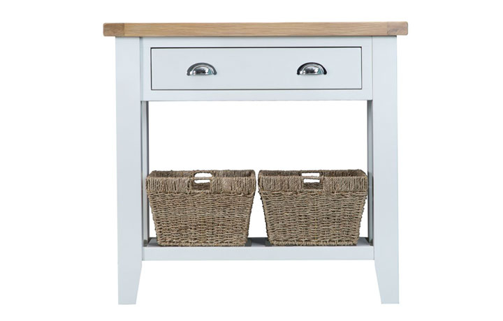 Consoles - Regency White Painted Console Table With Baskets
