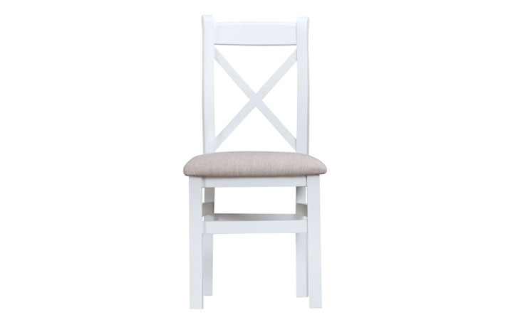 Regency White Painted Collection - Regency White Painted Cross Back Fabric Seat Chair