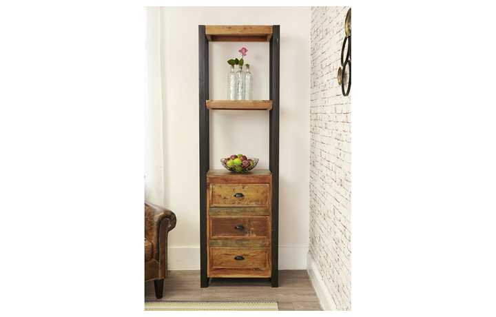 Bookcases - Mali Reclaimed Pine Alcove Bookcase With Drawers
