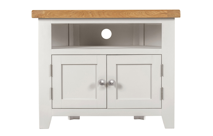 TV Cabinets - Eden Ivory Painted Corner TV Unit With Solid Doors
