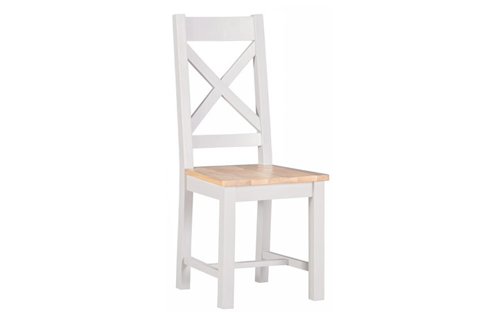 Wexford White Painted Range - Wexford White Painted Cross Back Dining Chair With Pad