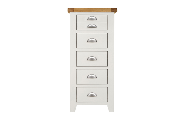 chest-of-drawers - Wexford White Tall Chest 5 Drawers
