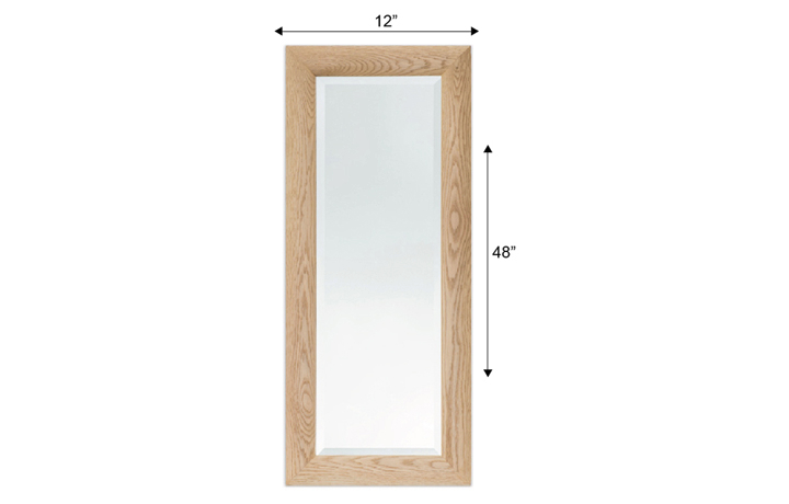 "mirrors - BEVELLED MIRROR WITH 3"" CURVED OAK FRAME 48"" X 12"""