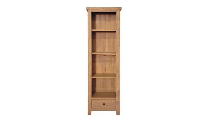 Dunwich Reclaimed Pine Range - Dunwich Reclaimed Pine Slim Bookcase With Drawer