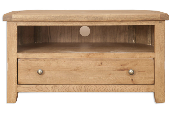 TV Cabinets - Windsor Rustic Oak Corner TV Cabinet