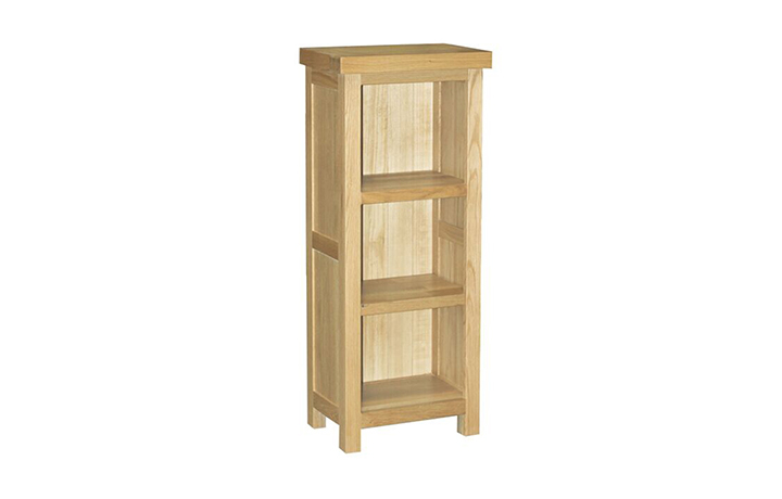 Suffolk Solid Oak Furniture Range - Suffolk Solid Oak 4ft Low Narrow Shelved Unit