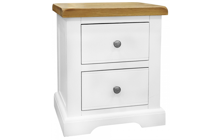 Suffolk Painted Collection White, Grey, Cream & Stone - Suffolk Painted 2 Drawer Bedside