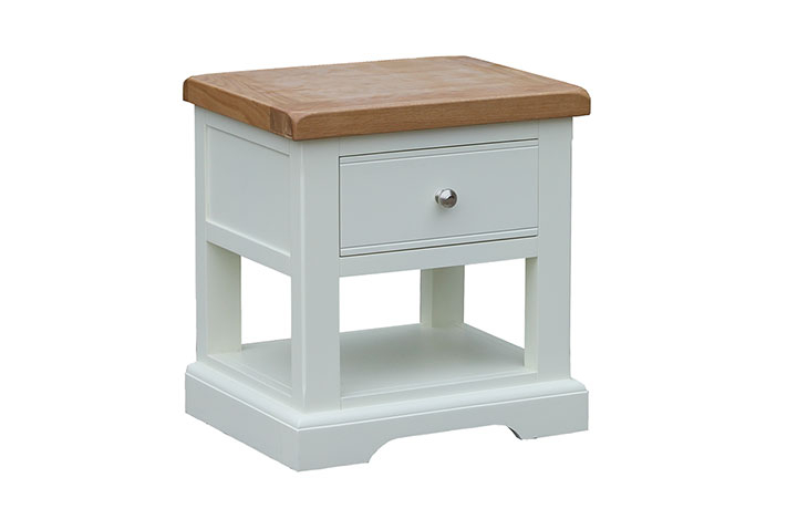 Suffolk Painted Collection White, Grey, Cream & Stone - Suffolk Painted 1 Drawer Lamp Table