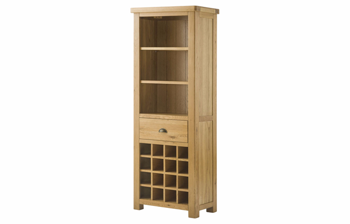 Bookcases - Pembroke Oak Grand Bookcase With Wine Holders