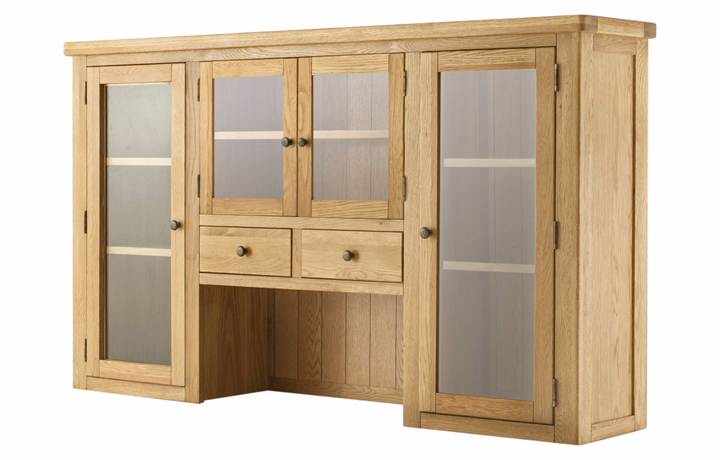 Dresser Tops & Larder Units - Pembroke Oak Grand 4 Door Glazed Dresser Top