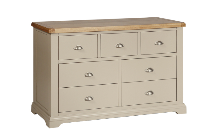 Chest Of Drawers - Henley Truffle Painted 7 Drawer Wide Chest
