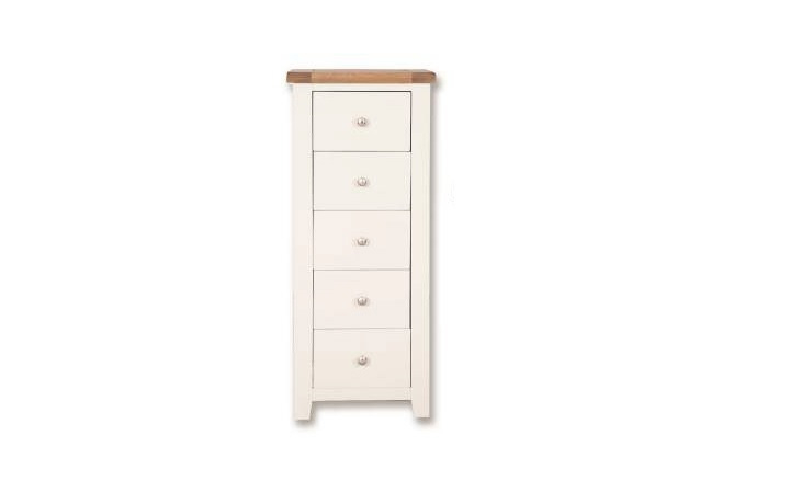 Chest Of Drawers - Henley White Painted 5 Drawer Tall Chest