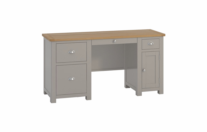 Office Furniture - Pembroke Stone Painted Office Double Pedestal Desk