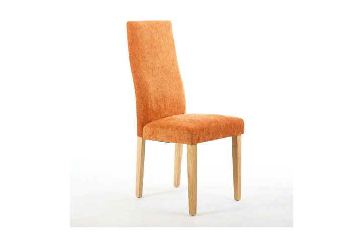 Chairs & Bar Stools - Holborn Chenille Effect Burnt Orange Dining Chair