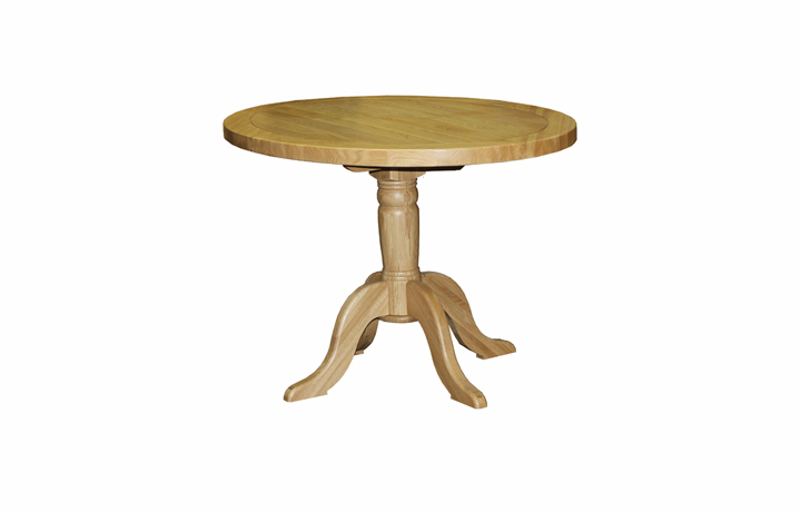 Dining Tables - Suffolk Solid Oak 90cm Round Pedestal Dining Table