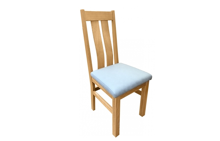 Suffolk Solid Oak Furniture Range - Suffolk  Oak Twin Slat Chair With Gold Leaf Seat Pad