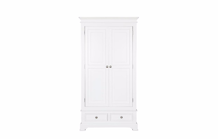 wardrobes - Loire White 2 Door Wardrobe with Drawers