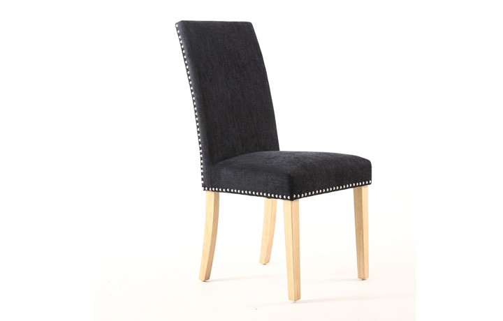 Chairs & Bar Stools - Diamond Chenille Effect Jet Black With Stud Dining Chair