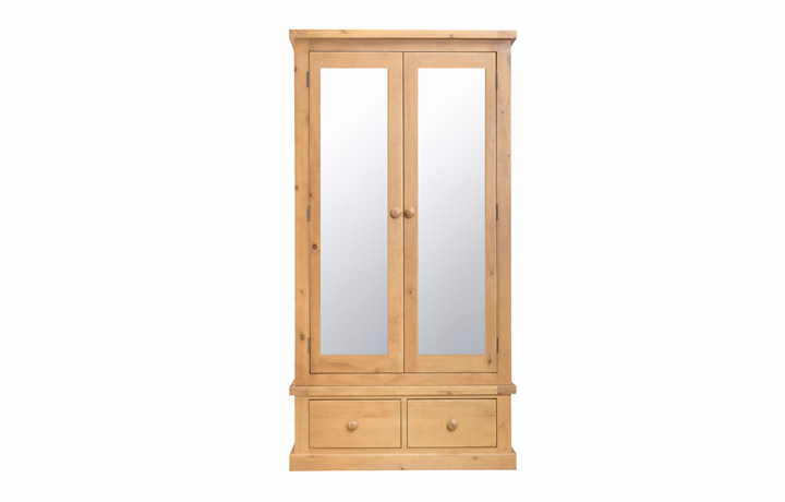 Country Pine - Country Pine Large 2 Drawer Gents Robe With Mirrors
