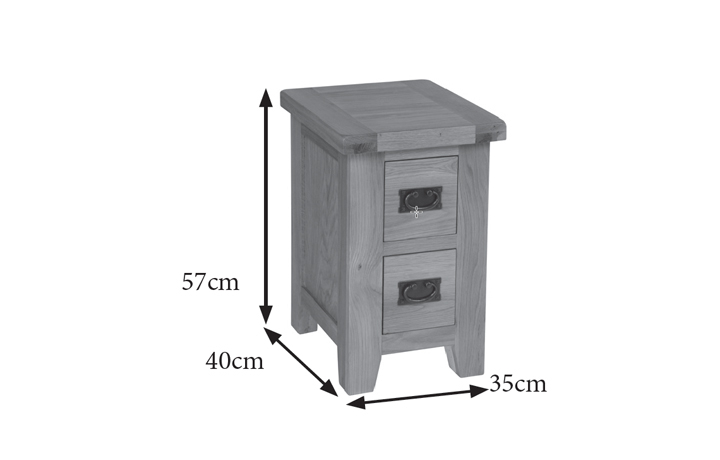 Essex Rustic Oak Furniture Range - Essex Rustic Oak 2 Drawer Bedside