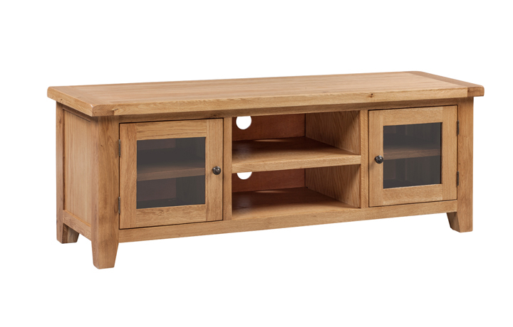 TV Cabinets - Essex Rustic Oak Large TV Unit