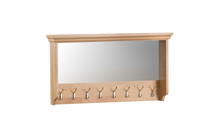 Mirrors - Glemham Oak - Large Glazed Coat Rack