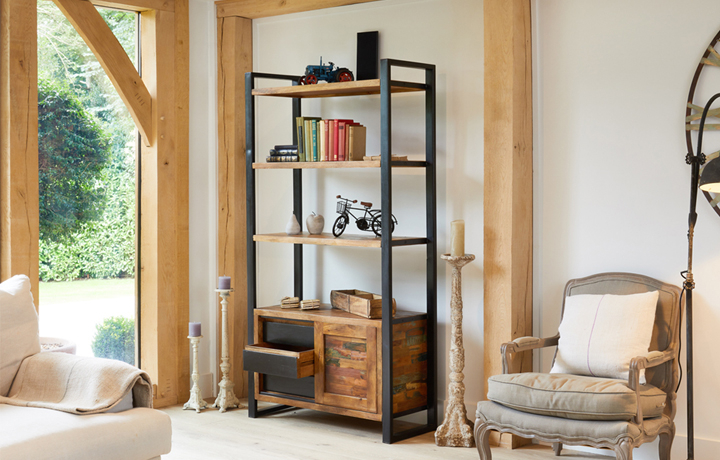 Bookcases - Mali Reclaimed Pine Large Bookcase With Storage