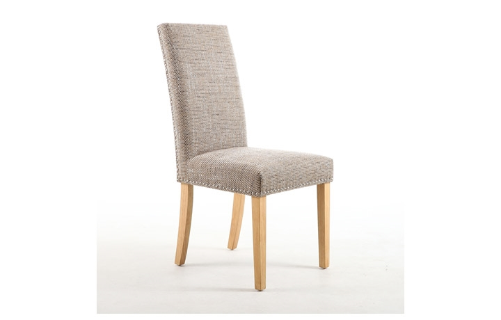 Chairs & Bar Stools - Diamond  Oatmeal Tweed With Stud Dining Chair
