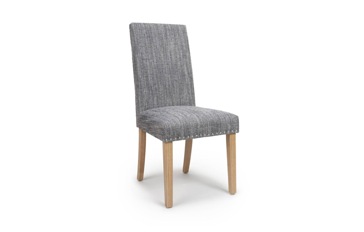 Chairs & Bar Stools - Diamond Tweed Grey With Stud Dining Chair