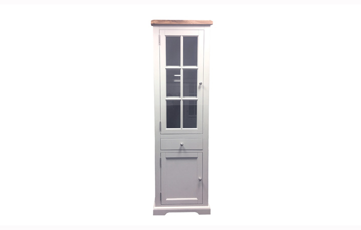 Suffolk Painted Collection White, Grey, Cream & Stone - Suffolk Painted Slim Display Cabinet