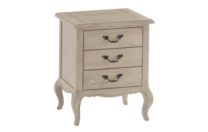 Blanchir Oak Furniture Collection - Blanchir Oak 3 Drawer Bedside
