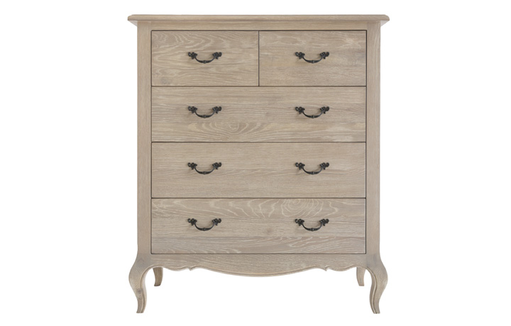 Blanchir Oak Furniture Collection - Blanchir Grey Wash Oak 2 over 3 Chest of Drawers