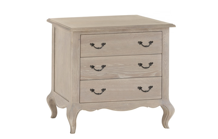 Chest Of Drawers - Blanchir Grey Wash Oak 3 Drawer Chest