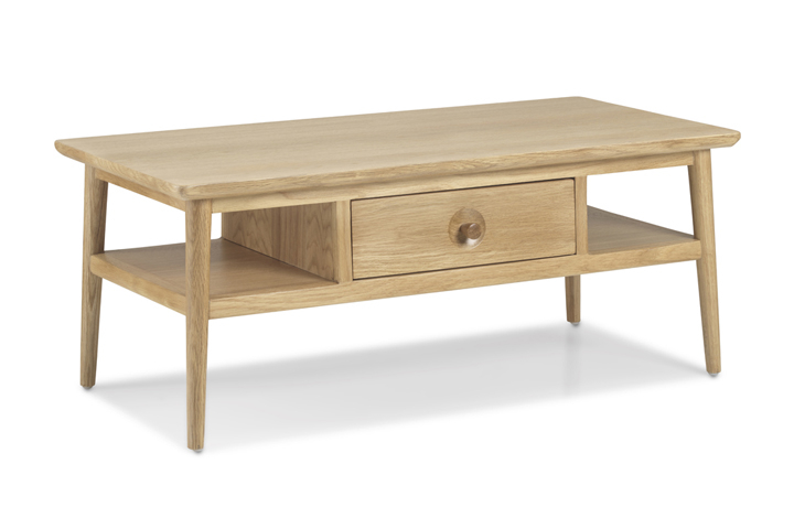 Coffee Tables - Nordic Solid Oak Coffee Table with Drawer