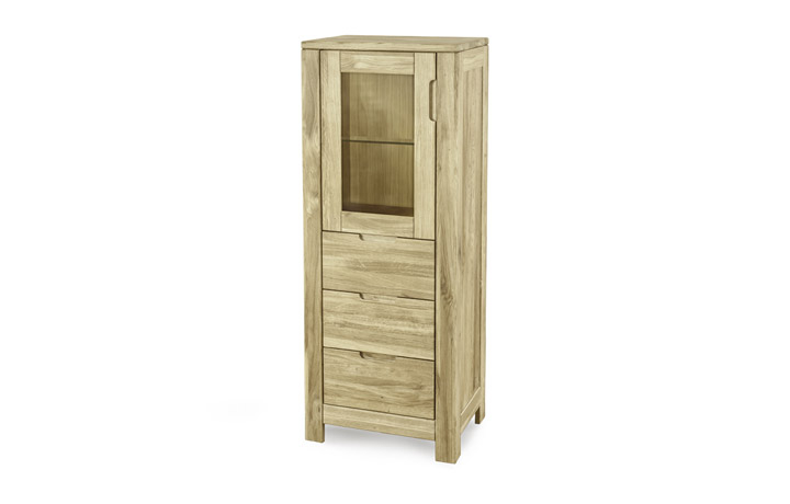 Natures Oak Collection - Natures Oak - Narrow Display Cabinet with Drawers