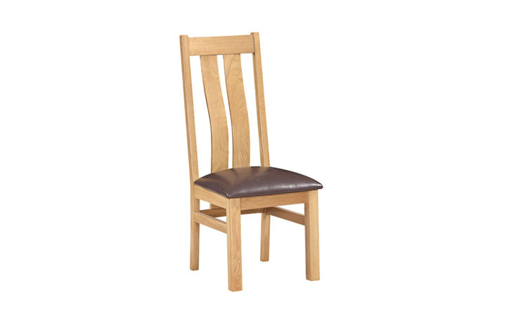 Woodford Solid Oak Collection - Lavenham Oak Twin Slat Chair With Brown Pad