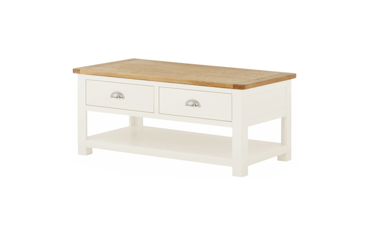 Coffee Tables - Pembroke White Painted Coffee Table with Drawers