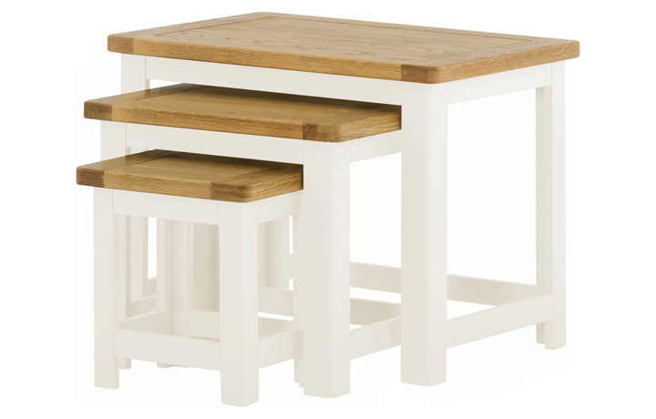 Nested Tables - Pembroke White Painted Nest Of 3 Tables
