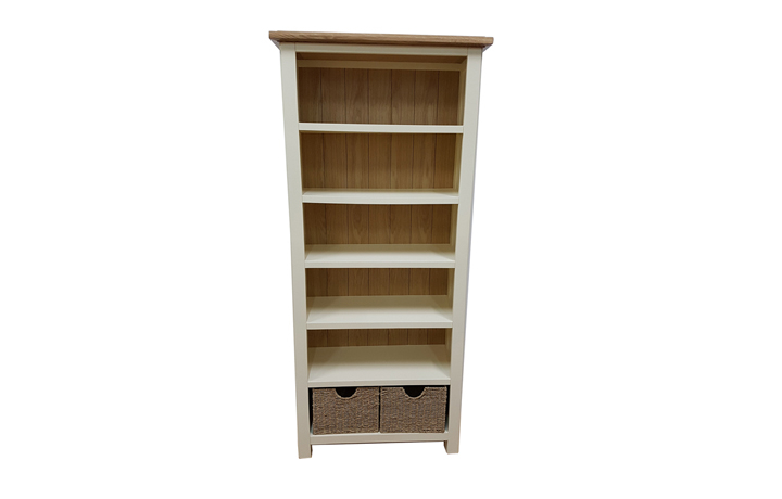 bookcases - Kent Cream Painted Large Bookcase - With 2 Baskets