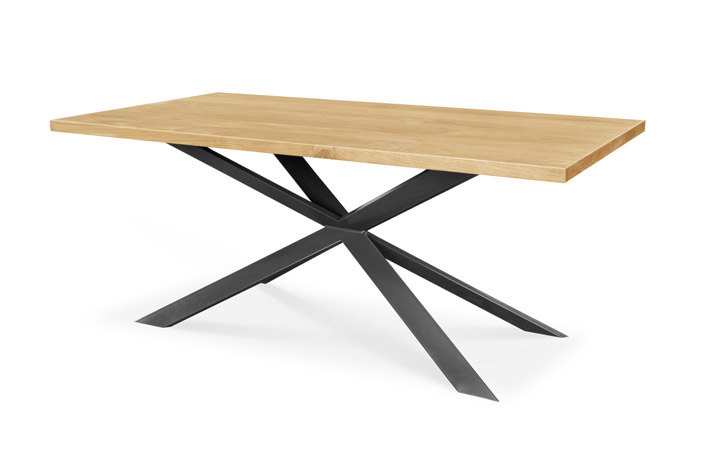 Dining Tables - Sigala Oak 180cm Dining Table With Metal Star Leg