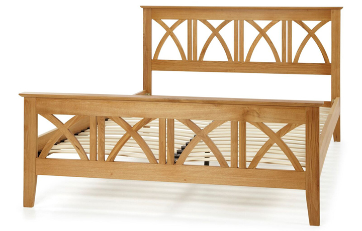 Bed Frames - 5ft Maidan Double Cross Oak Bed Frame With High End