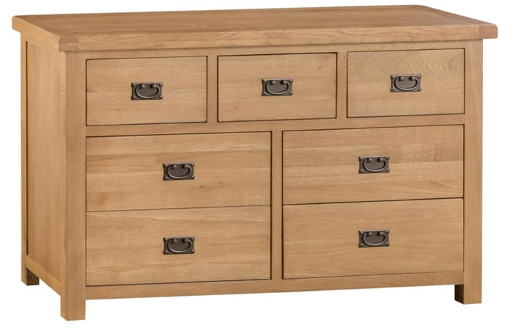 chest-of-drawers - Burford Rustic Oak 3 over 4 chest