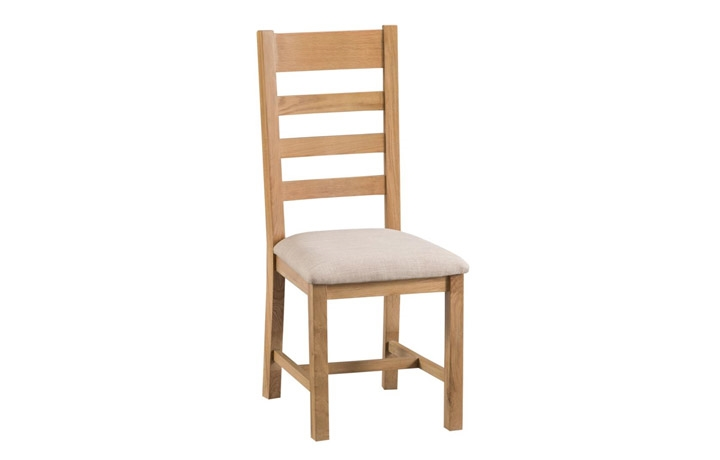 Burford Rustic Oak Collection - Burford Rustic Oak Ladder Back Chair- Fabric