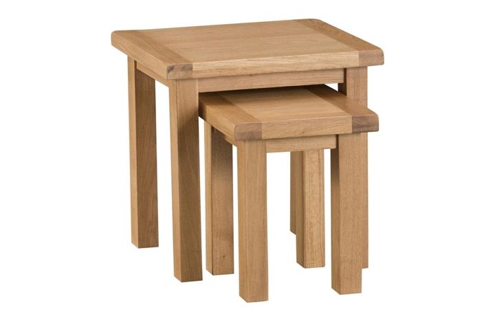Burford Rustic Oak Collection - Burford Rustic Oak Nest of 2 Tables