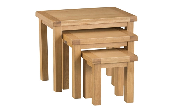 Burford Rustic Oak Collection - Burford Rustic Oak Nest of 3 Tables