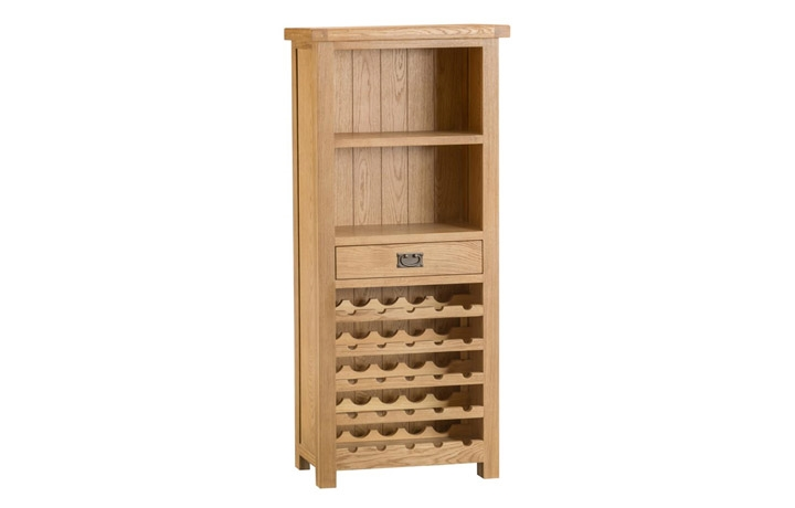 Display Cabinets - Burford Rustic Oak Wine Rack Cabinet