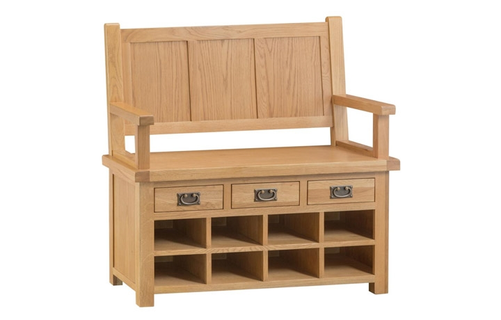 Benches - Burford Rustic Oak Monks Bench