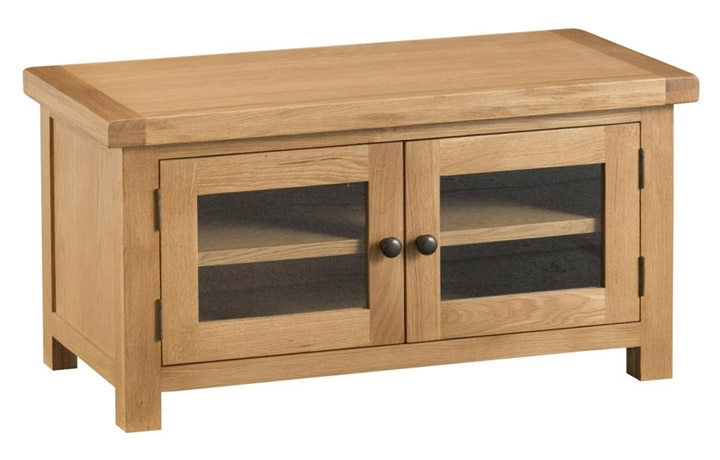 TV Cabinets - Burford Rustic Oak Standard TV Unit (with glass doors)